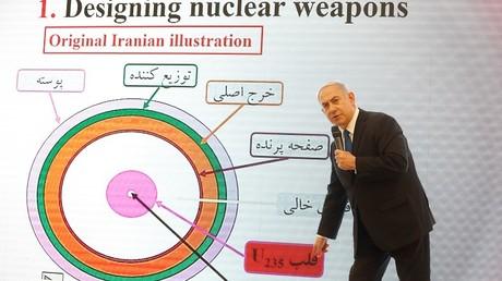 Netanyahou présente, en direct à la télévision le 30 avril, des graphiques censés