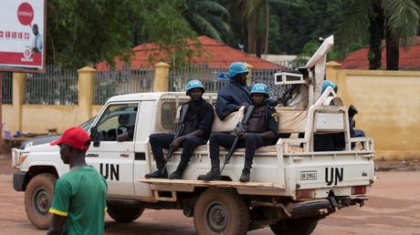 Une patrouille de casques bleus sénégalais à Bangui le 24 avril 2017. (image d'illustration)