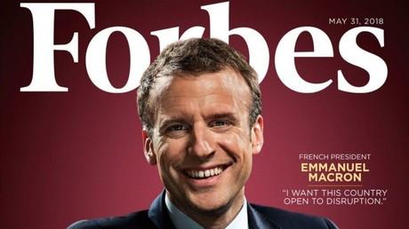 Capture d'écran d'Emmanuel Macron figurant sur la couverture du magazine américain Forbes de mai 2018