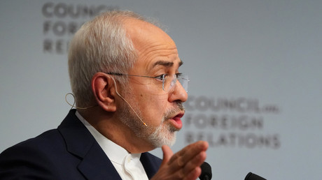 Le ministre des Affaires étrangères iranien Mohammad Zarif lors d'un discours devant le Council of foreign relations (CFR) à New York, le 23 avril