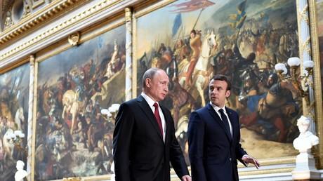 Vladimir Poutine et Emmanuel Macron au Château de Versailles, le 29 mai 2017