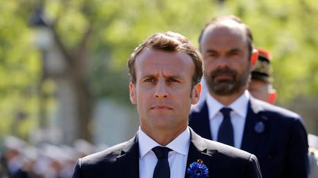 Emmanuel Macron lors de la cérémonie du 8 mai à Paris