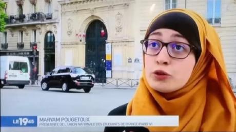 Maryam Pougetoux, la présidente de l'Unef pour l'université Paris IV Sorbonne. (capture d'écran M6)