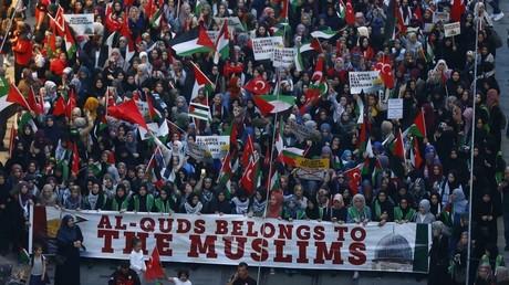 Illustration : manifestation pro-palestinienne à Istanbul après les événements du 14 mai à Gaza