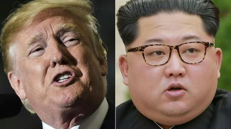 Photomontage montrant le président américain Donald Trump (gauche) et le président nord-coréen Kim Jung Un (droite)