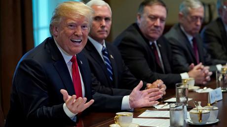 Donald Trump et des membres de son gouvernement lors d'une rencontre avec le secrétaire général de l'OTAN, Jens Stoltenberg, à Washington, 17 mai, illustration