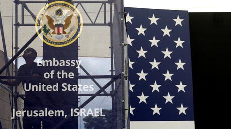 Préparatifs de la cérémonie d'inauguration de l'ambassade américaine à Jérusalem, photo ©Ronen Zvulun/Reuters