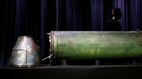 Un missile endommagé présenté en conférence de presse aux Pays bas le 24 mai 2018, photo ©Francois Lenoir / Reuters