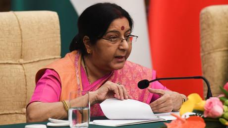 La ministre indienne des Affaires étrangères Sushma Swaraj le 22 avril 2018 à Pékin, en Chine.
