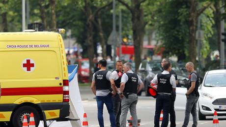 Les membres des forces de l'ordre sur les lieux du drame à Liège