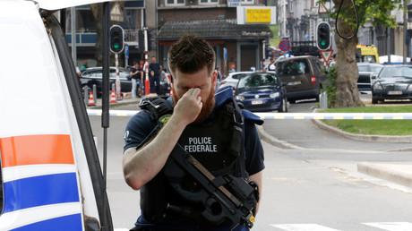 Un officier de police belge à Liège en Belgique le 29 mai 2018.