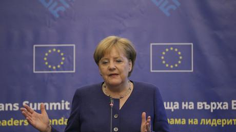 la chancelière d'Allemagne Angela Merkel, lors du sommet UE-Balkans qui s'est tenu le 17 mai à Sofia en Bulgarie (illustration).