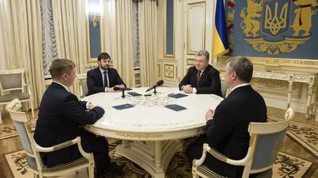 Réunion des dirigeants de Nafogaz avec le président ukrainien Petro Porochenko, à Kiev en Ukraine (illustration).