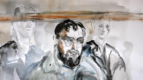 Croquis d'audience représentant Djamel Beghal au tribunal en 2005, illustration