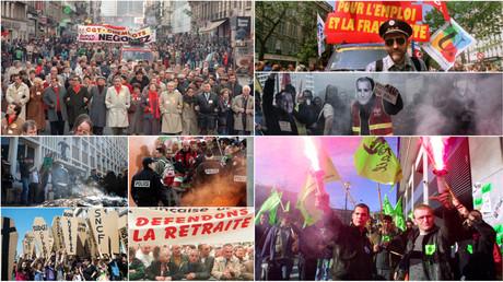 Photo-montage réalisé à partir d'images retraçant des mouvements sociaux liés à la SNCF depuis 1986