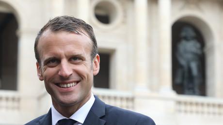 Le président français Emmanuel Macron le 11 juin 2018 aux Invalides à Paris.