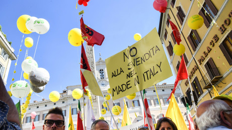 Manifestation contre le CETA à Rome en juillet 2017