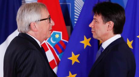 Jean-Claude Juncker et le président du Conseil italien Giuseppe Conte à Bruxelles le 28 juin 2018