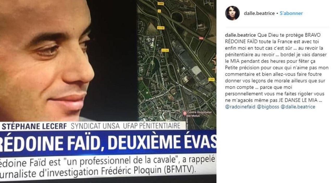 «Que Dieu te protège» : Béatrice Dalle félicite Redoine Faïd pour son évasion, les réactions fusent