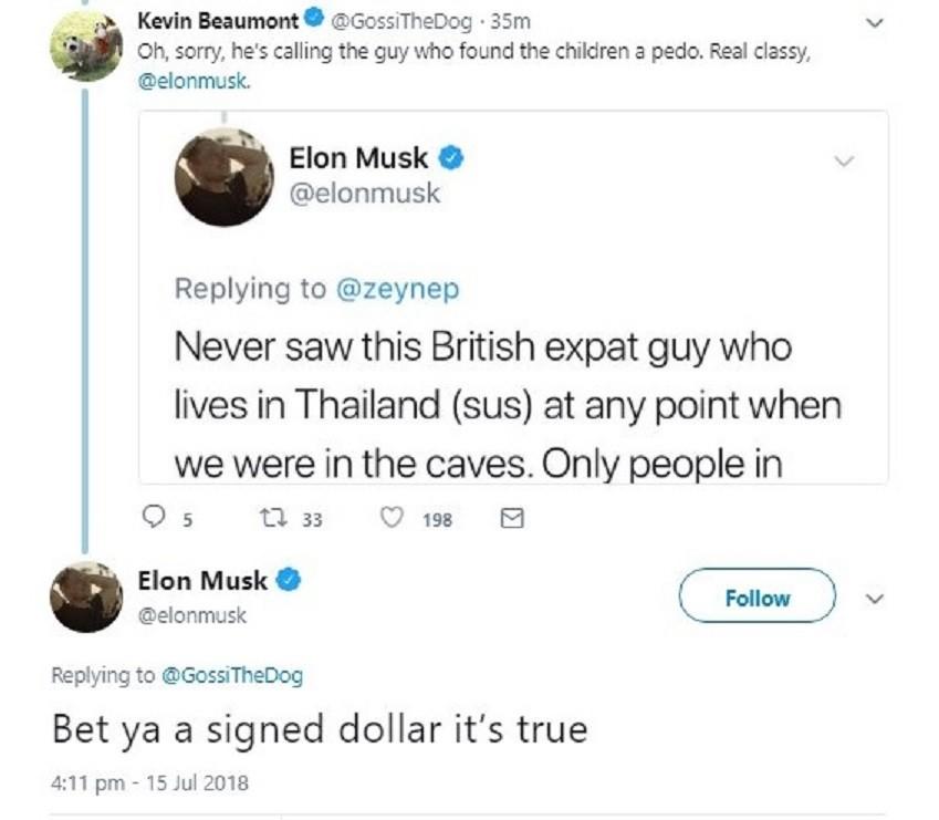 Elon Musk choque en traitant de pédophile un des sauveteurs des ados thaïlandais