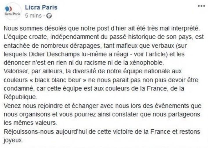 Equipe de Croatie «uniforme» : la Licra demande la démission du directeur de son antenne parisienne