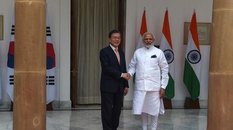 Le premier ministre indien Narendra Modi et son homologue sud-coréen Moon Jae-in lors d'une visite officielle/Image d'illustration