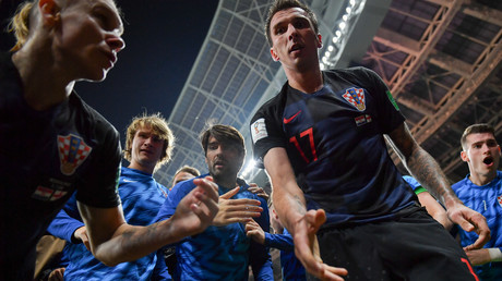 Un photographe submergé par les Croates en folie après leur but de qualification (IMAGES)