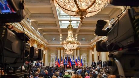 Conférence de presse conjointe des président américain Donald Trump et russe Vladimir Poutine après leur réunion à Helsinki, le 16 juillet 2018