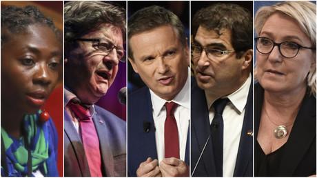 photomontage, de gauche à droite : Danièle Obono, Jean-Luc Mélenchon, Nicolas Dupont-Aignan, Christian Jacob, Marine Le Pen