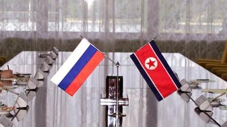 Drapeaux russe et nord-coréen (image d'illustration).