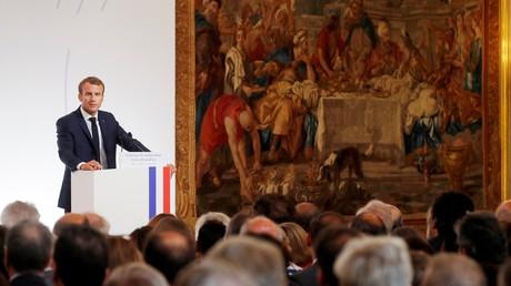 Emmanuel Macron à la conférence des ambassadeurs le 27 août 2018 à l'Elysée.