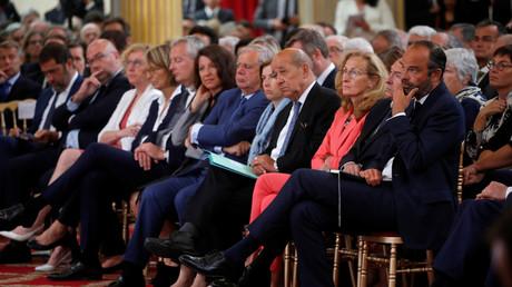 Des membres du gouvernement assistent au discours d'Emmanuel Macron au Quai d'Orsay le 27 août 2018, photo ©Philippe Wojazer/Reuters