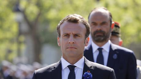 Emmanuel Macron et Edouard Philippe pendant les commémorations du 8 Mai, en 2018 (image d'illustration).
