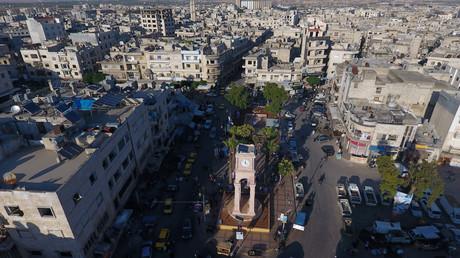 Photo aérienne de la ville syrienne d'Idleb, sous contrôle de groupes rebelles (image d'illustration datant de juin 2017).