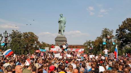 Des Russes réunis à Moscou pour protester contre la réforme des retraites, le 9 septembre 2018.
