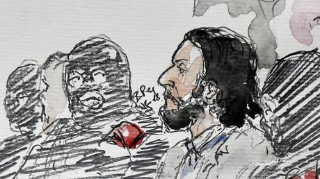 Un dessin représentant Salah Abdeslam pendant une de ses auditions, le 5 février 2018 (image d'illustration).