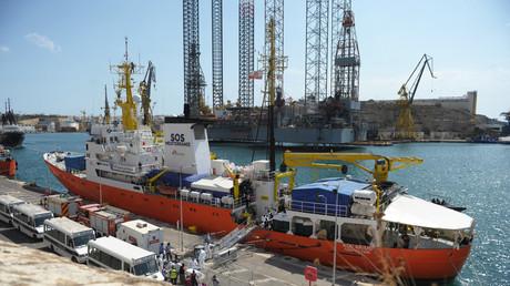 L'Aquarius après son amarrage au quai Bolier à Senglea, à Malte, le 15 août 2018 (image d'illustration).