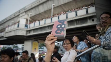 Un manifestant brandit un exemplaire de 1984 de George Orwell à Bangkok, en Thaïlande, en février 2015 (image d'illustration).