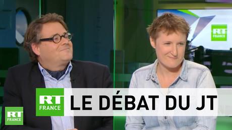 Sur le plateau de RT France, Guillaume Bernard (à gauche), Alice Coffin (à droite) ont débattu sur une éventuelle extension de la PMA pour les couples de femmes
