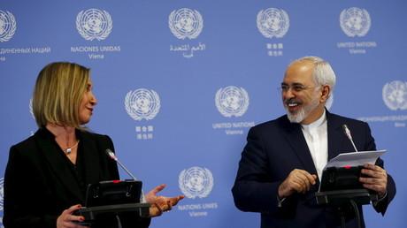 Le chef de la diplomatie de l'Union européenne, Federica Mogherini et le ministre iranien des Affaires étrangères Javad Zarif.