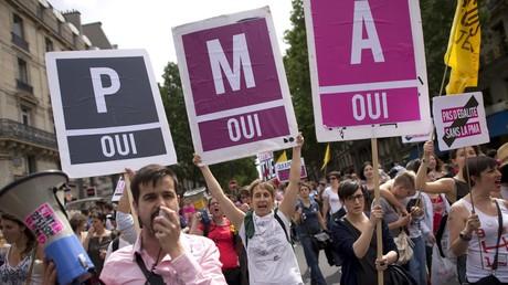 Des pancartes pour l'extension de la PMA, lors de la Gay Pride de Paris de juin 2013 (image d'illustration).