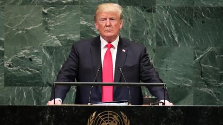Donald Trump prend la parole devant l'Assemblée générale des Nations Unies le 25 septembre 2018.