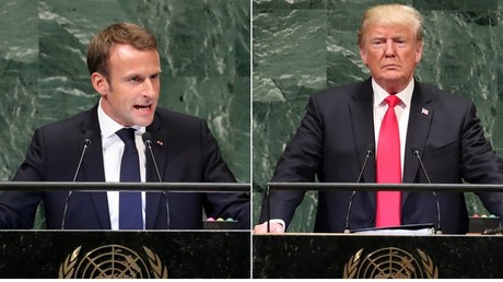 Emmanuel Macron et Donald Trump au pupitre de l'Assemblée générale de l'ONU, le 25 septembre à New York.