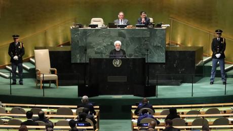 Le président de la République islamique d'Iran s'exprime à la tribune de l'Assemblée générale de l'ONU le 25 septembre 2018.