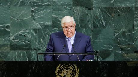 Le ministre syrien des Affaires étrangères Walid al-Mouallem , devant la 72e assemblée générale des Nations unies, en 2017 (image d'illustration).