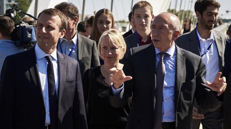 Emmanuel Macron, Caroline Collomb et son mari, Gérard Collomb, à Lyon, 2016.
