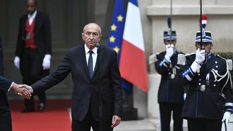 Gérard Collomb lors de sa passation de pouvoir, remplacé par Edouard Philippe.