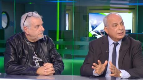 Daniel Hamiche, de Riposte catholique (g.) et Yves Crespin (d.), avocat de l'association L'Enfant bleu, sur le plateau de RT France, le 4 octobre 2018.