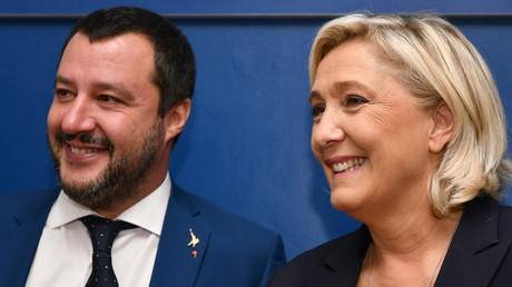 Marine le Pen, leader du Rassemblement national, et le ministre de l'Intérieur italien Matteo Salvini, à la conférence de presse de leur rencontre à Rome.