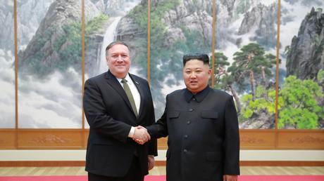 Kim Jong-un et Mike Pompeo à Pyongyang le 7 octobre 2018.